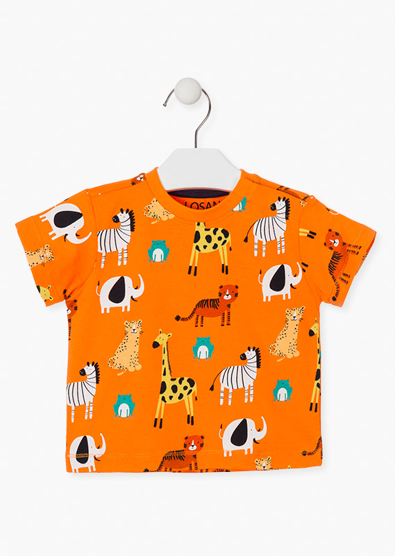 Camseta animales selva naranja
